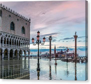 St Marks Square Flooded At High Tide - Venice Canvas Print by Matteo Colombo