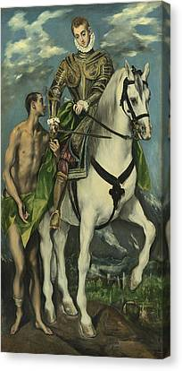 St. Martin And The Beggar Canvas Print by Domenico Theotocopuli El Greco