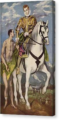 St Martin And The Beggar Canvas Print