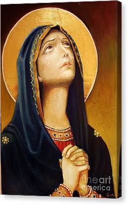 St Mary Icon Canvas Print by Sorin Apostolescu
