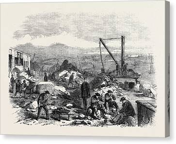 St. Marys Island The Convicts At Labour Chatham Prison 1861 Canvas Print by English School