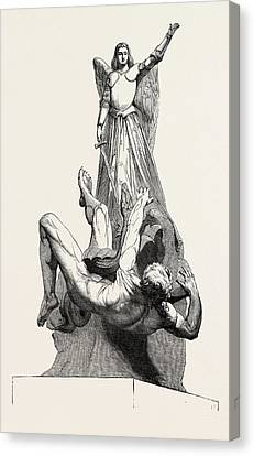 St. Michael Overthrowing The Dragon Canvas Print by Le Seigneur, French School