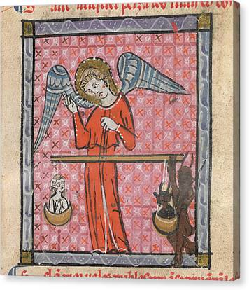 St Michael Weighing Souls Canvas Print by British Library