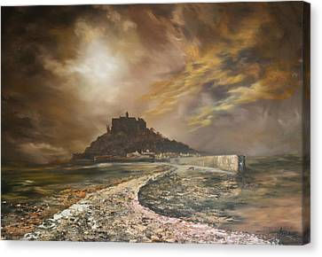 Canvas Print featuring the painting St Michaels Mount Cornwall by Jean Walker