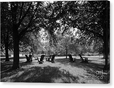 St. Olaf College Adirondacks On The Quad Canvas Print by University Icons