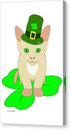 St. Patrick's Day Cat Canvas Print