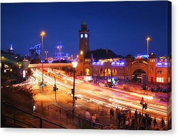 St. Pauli Landing Stages At Night Canvas Print by Marc Huebner