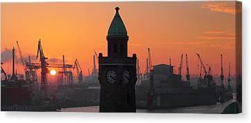 St. Pauli Landing Stages Sunset Canvas Print by Marc Huebner