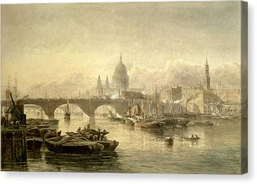 St. Pauls Cathedral And London Bridge Canvas Print by Edward Angelo Goodall