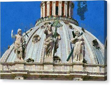 Statue Canvas Print - St Peter Dome In Vatican by George Atsametakis