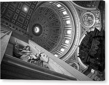 St Peter's Basilica Bw Canvas Print by Chevy Fleet