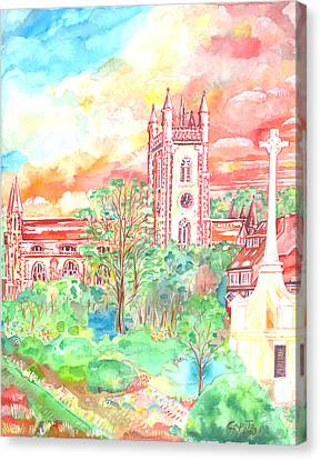 Canvas Print featuring the painting St Peter's Church - St Albans by Giovanni Caputo