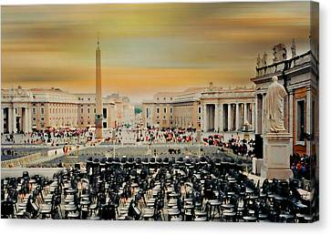 St. Peter's Square Rome Canvas Print by Diana Angstadt