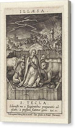 St. Thecla Of Iconium Surrounded By A Lion Canvas Print by Hieronymus Wierix