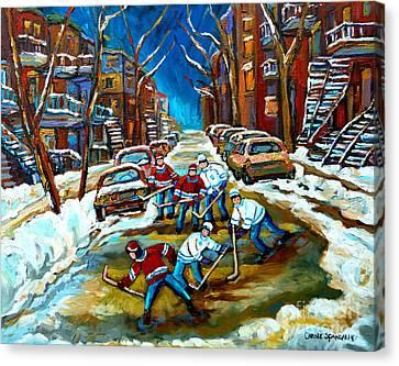 St Urbain Street Boys Playing Hockey Canvas Print by Carole Spandau