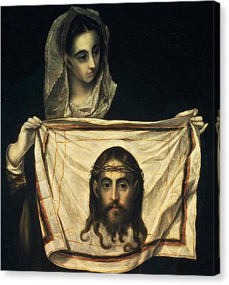 St Veronica With The Holy Shroud Canvas Print by El Greco Domenico Theotocopuli