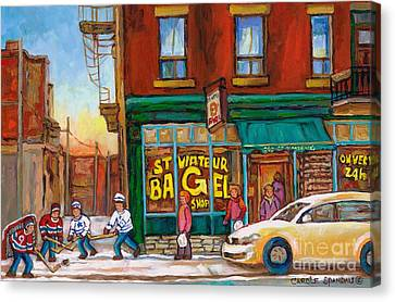 St.viateur Bagel Canvas Print - St. Viateur Bagel-boys Playing Street Hockey In Laneway-montreal Street Scene Painting by Carole Spandau