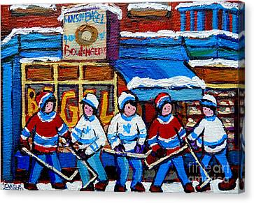 St.viateur Bagel Canvas Print - St Viateur Bagel Hockey Game Montreal City Scene by Carole Spandau