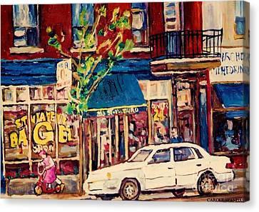 St Viateur Bagel Shop Corner Park Avenue Montreal Streetscenes Canvas Print by Carole Spandau