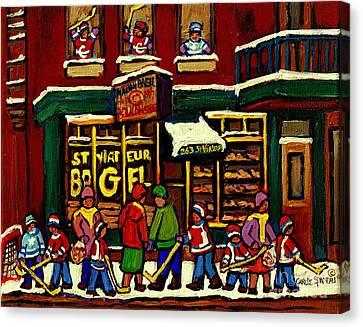 St Viateur Bagel Shop Deli Corner Depanneur Montreal Landmarks Hockey Art Paintings Carole Spandau Canvas Print by Carole Spandau