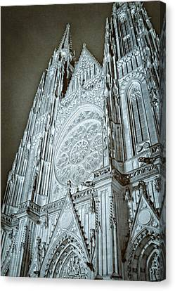 St Vitus Cathedral Rose Window At Night Canvas Print by Joan Carroll