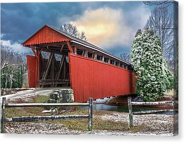 Staats Mill Covered Bridge Canvas Print by Mary Almond