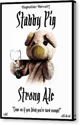 Stabby Pig Strong Ale Canvas Print by Piggy