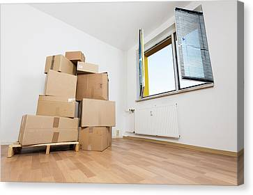 Cardboard Canvas Print - Stack Of Cardboard Boxes In An Empty Room by Wladimir Bulgar