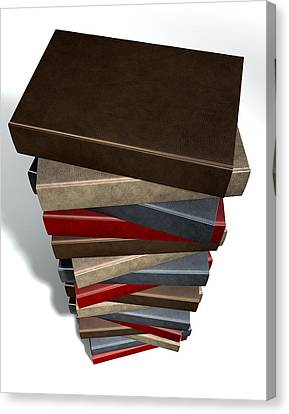 Stack Of Generic Leather Books Canvas Print by Allan Swart