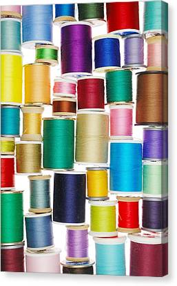 Sewing Machine Canvas Print - Spools Of Thread by Jim Hughes