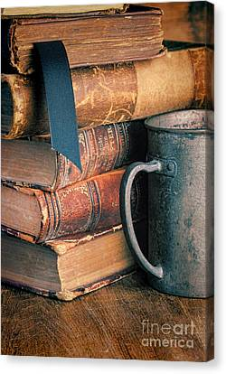 Stack Of Vintage Books Canvas Print by Jill Battaglia