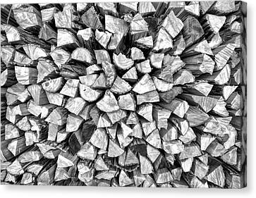 Log Cabin Art Canvas Print - Stacked Firewood by David Letts