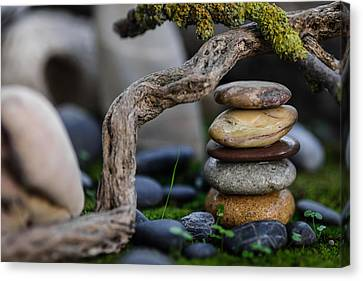 Mystic Setting Canvas Print - Stacked Stones A2 by Marco Oliveira