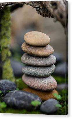 Mystic Setting Canvas Print - Stacked Stones B6 by Marco Oliveira
