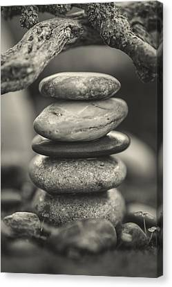 Mystic Setting Canvas Print - Stacked Stones Bw I by Marco Oliveira