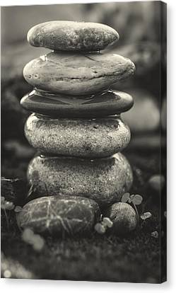 Mystic Setting Canvas Print - Stacked Stones Bw II by Marco Oliveira