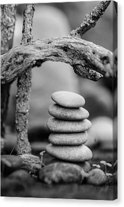 Mystic Setting Canvas Print - Stacked Stones Bw V by Marco Oliveira