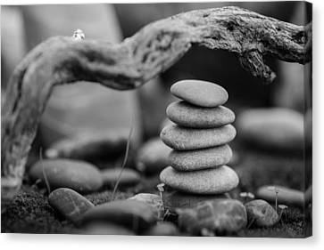 Mystic Setting Canvas Print - Stacked Stones Bw Vi by Marco Oliveira