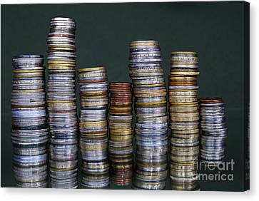Stacks Of International Coins Canvas Print