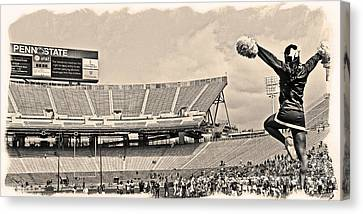 Penn State University Canvas Print - Stadium Cheer Black And White by Tom Gari Gallery-Three-Photography