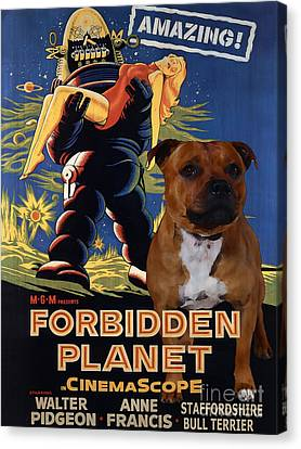 Staffordshire Bull Terrier Art Canvas Print - Forbidden Planet Movie Poster Canvas Print by Sandra Sij