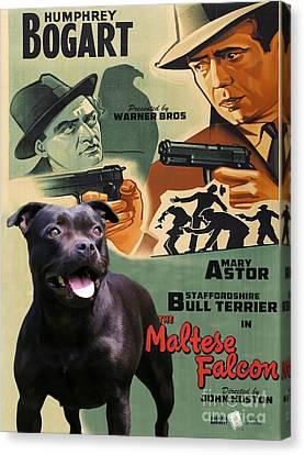 Staffordshire Bull Terrier Art Canvas Print - The Maltese Falcon Movie Poster Canvas Print