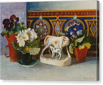 Staffordshire Cow With Primulaes Canvas Print by Terry Scales