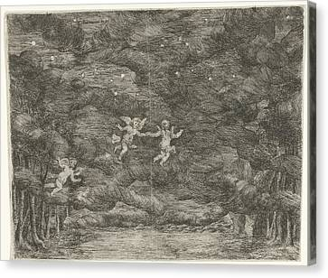 Stage Decoration With Angels In The Night Sky Canvas Print by Jan Van Ossenbeeck