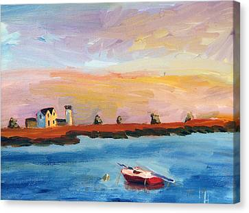 Stage Harbor Sunset Canvas Print by Michael Helfen