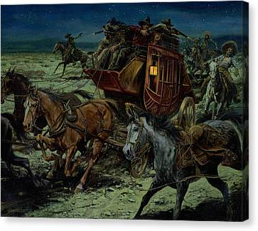 Robbers Canvas Print - Stagecoach Attack by Don  Langeneckert