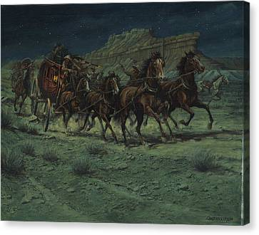 Stagecoach Six Horse Hold Up Canvas Print by Don  Langeneckert