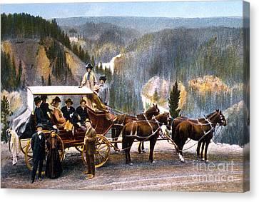 Stagecoach Near Upper Falls Canvas Print by NPS Photo Frank J Haynes