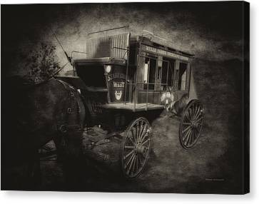 Stagecoach West Antique Textured Canvas Print by Thomas Woolworth