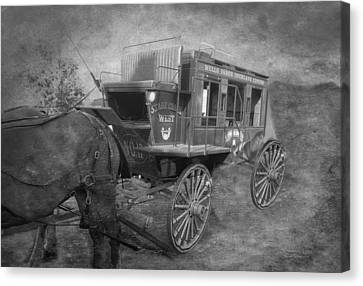 Stagecoach West Bw Textured Canvas Print by Thomas Woolworth